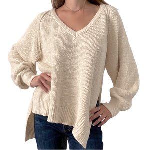 Free People Asymmetrical V-Neck Knit Sweater